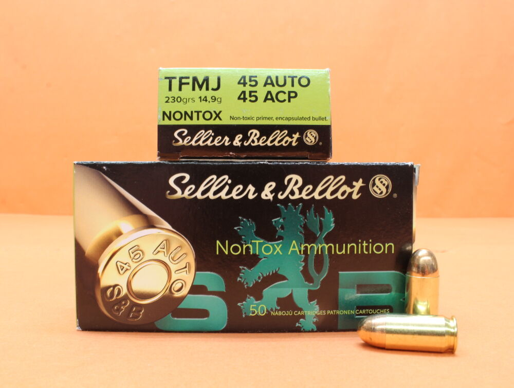 S&B Sellier & Bellot Patrone .45Auto S&B/ Sellier&Bellot 230grs TFMJ NONTOX VE 50 Patronen/ 14,9g Vollmantel