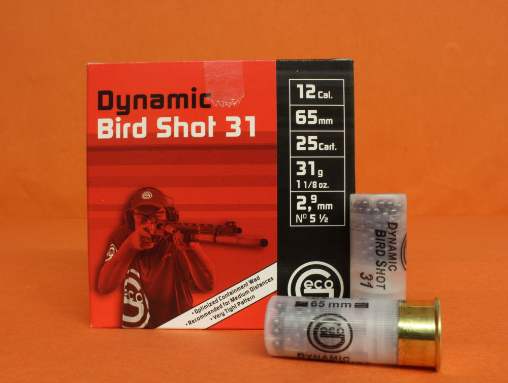 GECO Patrone 12/65 GECO 31g 2,9mm (2400234)  VE 25 Patronen (Dynamic Bird Shot)