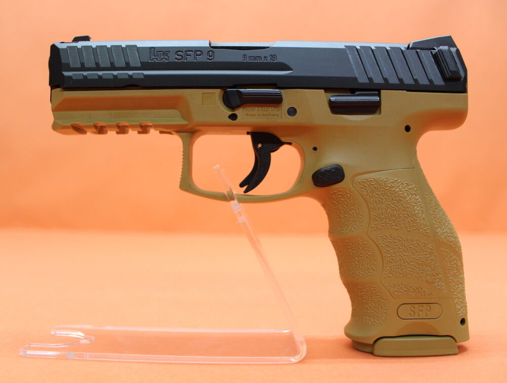 Heckler & Koch HK Ha.Pistole 9mmLuger Heckler&Koch/H&K HK SFP9 (SF) RAL8000 104mm Polygonlauf/ Push-Button (9mmPara)