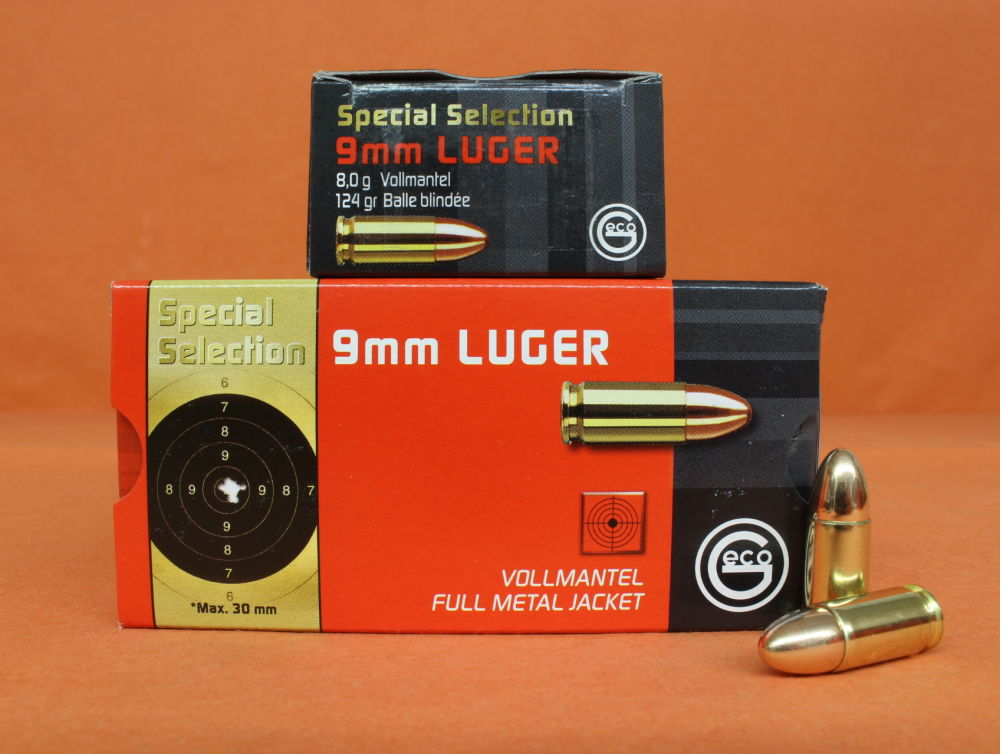 GECO Patrone 9mmLuger GECO 124grs FMJ (2404349) Special Selection VE 50 Patronen/ 8,0g Vollmantel (Präzisionspatrone)