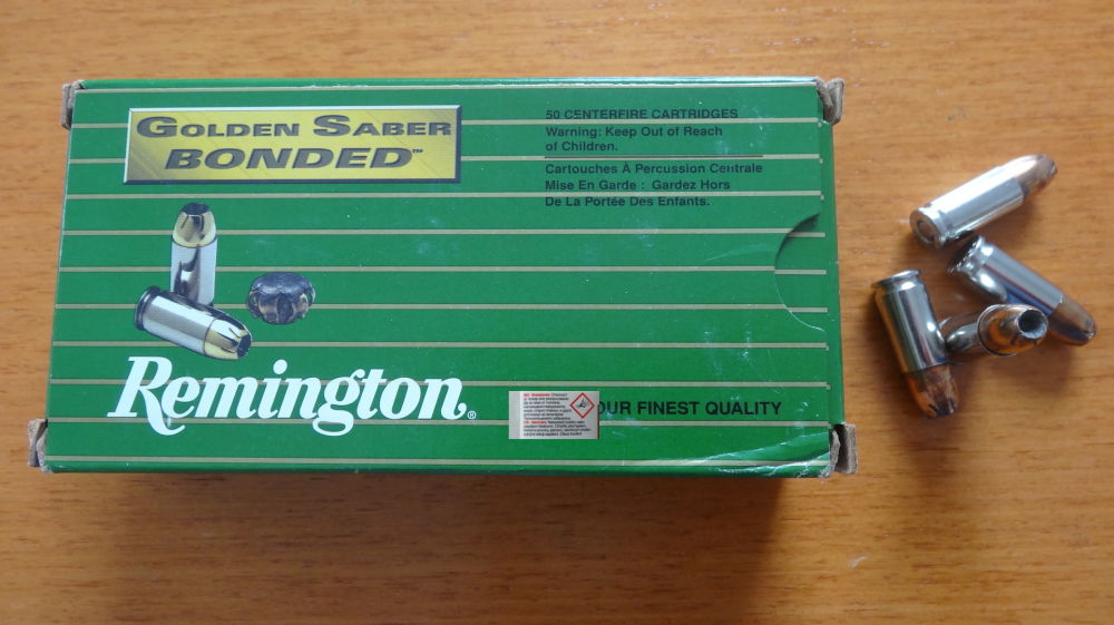 Remington 50 PATRONEN CAL. 9MM: REMINGTON GOLDEN SABER BONDED HPJ 8,04 G - 124 GRS